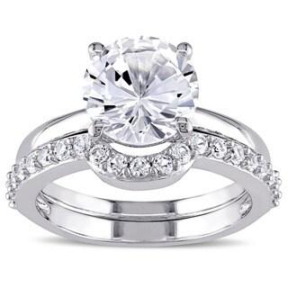 Miadora 10k White Gold Created White Sapphire Solitaire Bridal Ring Set