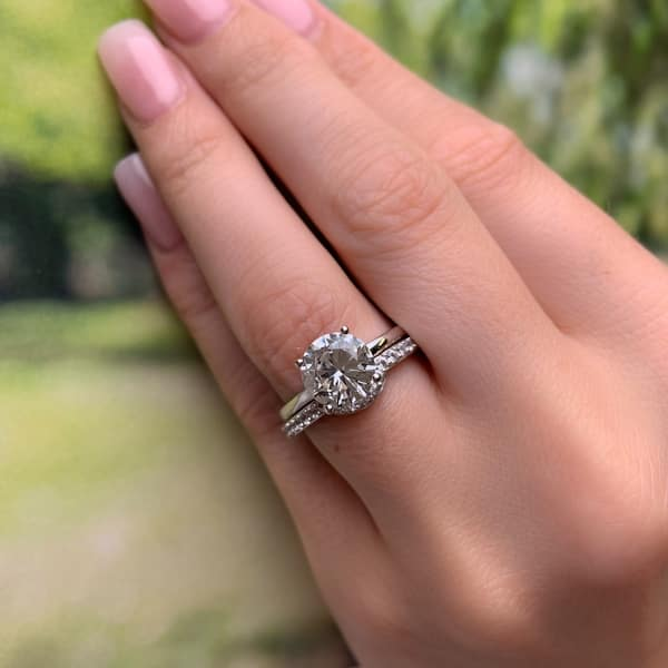 Round 6 Prong White Sapphire Solitaire Engagement Ring Cathedral 2ct-8mm-14k 18k White Yellow Rose Gold-Platinum-Custom-Wedding-Tapered