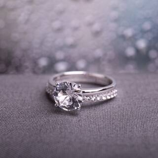 Miadora 10k White Gold Created White Sapphire Solitaire Bridal Ring Set|https://ak1.ostkcdn.com/images/products/10128698/P17266306.jpg?impolicy=medium