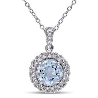 Miadora Sterling Silver Blue Topaz 1/10ct TDW Diamond Halo Necklace (G-H, I2-I3)