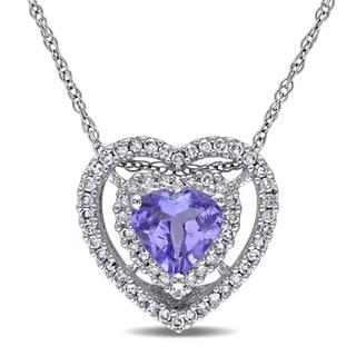 Miadora 10k White Gold Tanzanite 1/5ct TDW Diamond Heart Necklace (G-H, I1-I2)