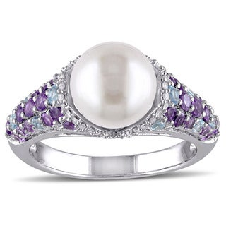 Miadora Sterling Silver Freshwater Pearl Gemstone and 1/10ct Diamond Ring (G-H, I2-I3) (8-8.5 mm)