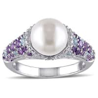 Miadora Sterling Silver Freshwater Pearl Gemstone and 1/10ct Diamond Ring (G-H, I2-I3) (8-8.5 mm) - White