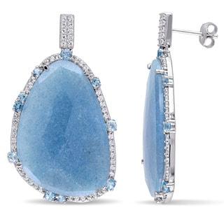 Miadora Sterling Silver Blue Quartz and Topaz Dangle Earrings