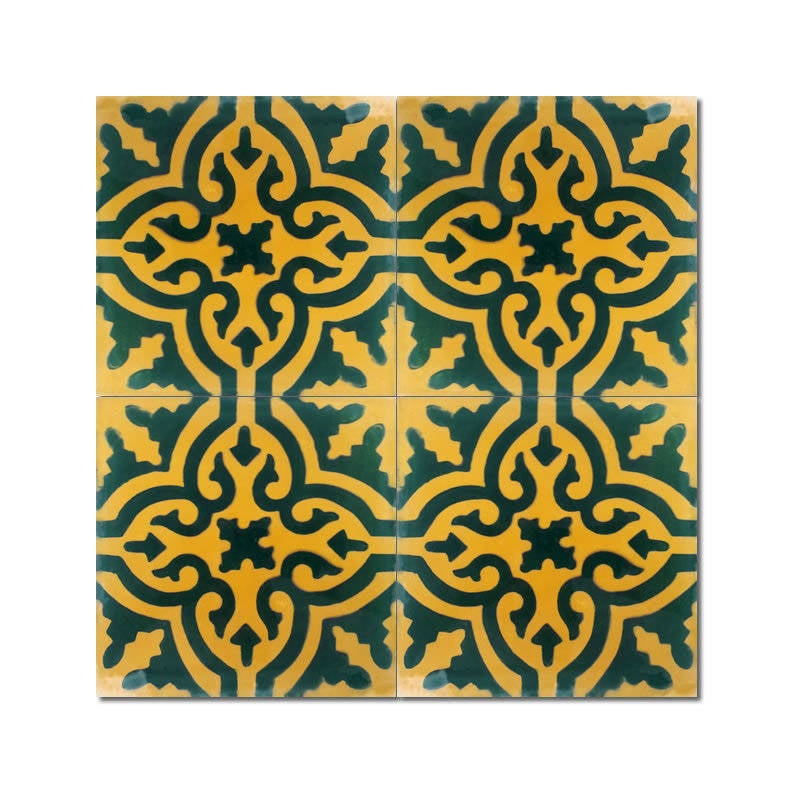 Argana Green and Gold Handmade Moroccan 8 x 8 inch Cement...