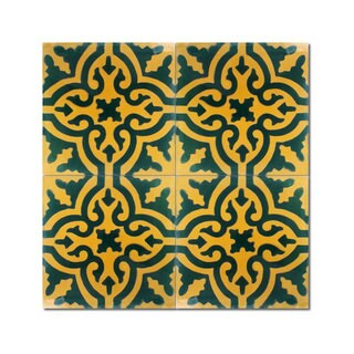 Pack of 12 Argana Green/ Gold Handmade Cement/ Granite Moroccan Tile 8-inch x 8-inch Floor/ Wall Tile (Morocco)