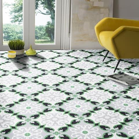 Handmade Agadir in Green, Grey, Black Cement Tile, Pack of 12 (Morocco)