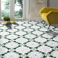 Agadir in Green, Grey, Black Handmade 8x8-in Morrocan Tile (Pack 12)