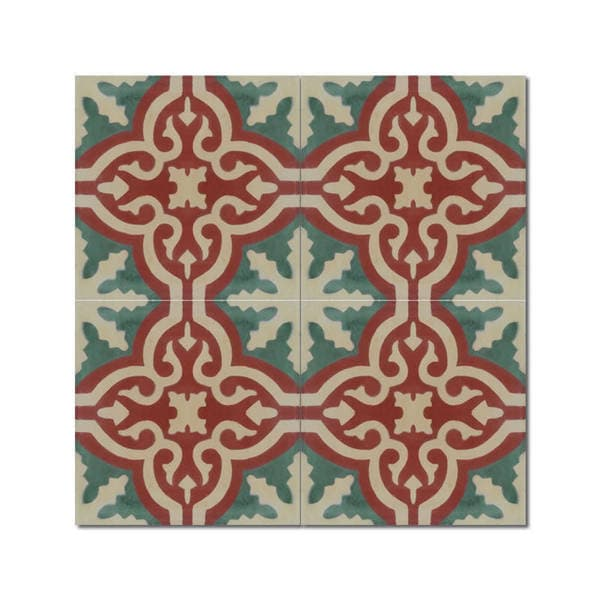 Shop Argana Green And Brown Handmade Moroccan X Inch Cement And - 24 inch granite tile