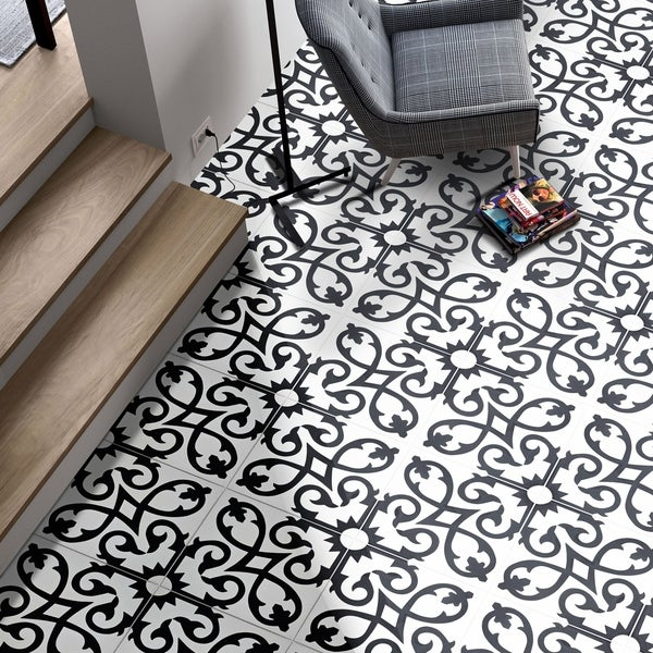 Agadir in White and Black Handmade 8x8-in Moroccan Tile (Pack 12)