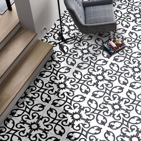 Handmade Agadir in White and Black Tile, Pack of 12 (Morocco)