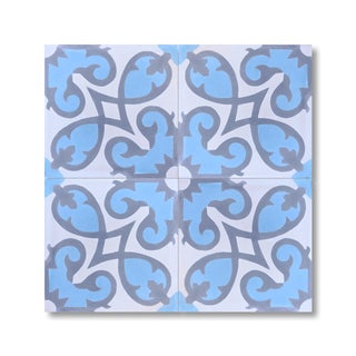 Pack of 12 Agadir Sky Blue Handmade Cement/ Granite Moroccan Tile 8-inch x 8-inch Floor/ Wall Tile (Morocco)
