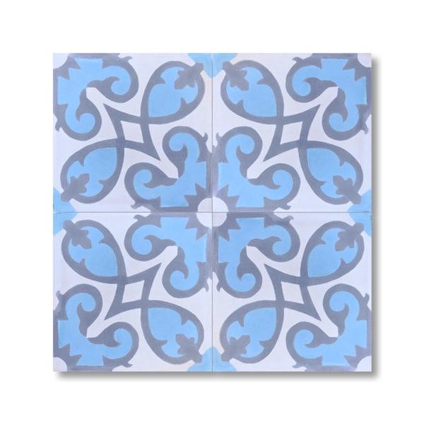 Pack of 12 agadir sky blue handmade cement granite for Handmade cement tiles