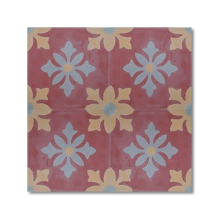 Pack of 12 Azroo Red/ Yellow Handmade Cement/ Granite Moroccan Tile 8-inch x 8-inch Floor/ Wall Tile (Morocco)