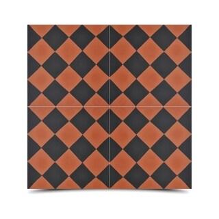 Pack of 12 Rabat Brown/ Black Handmade Cement/ Granite Moroccan Tile 8-inch x 8-inch Floor/ Wall Tile (Morocco)