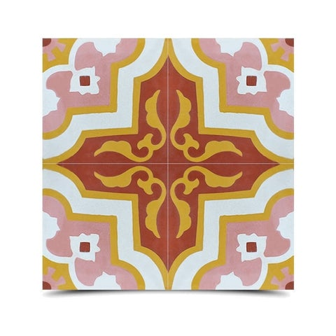 Taza Pink and Brown Handmade Moroccan 8 x 8 inch Cement and Granite Floor or Wall Tile (Case of 12)