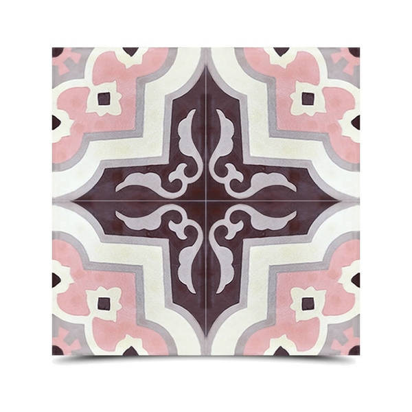 Taza Pink and Grey Handmade Moroccan 8 x 8 inch Cement and Granite Floor or Wall Tile (Case of 12)