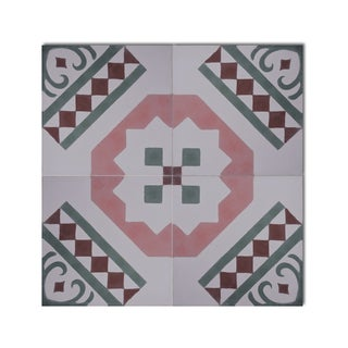 Pack of 12 Bouman Pink/ Green Handmade Cement/ Granite Moroccan Tile 8-inch x 8-inch Floor/ Wall Tile (Morocco)