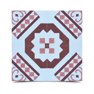 Pack of 12 Bouman Pink/ Brown Handmade Cement/ Granite Moroccan Tile 8-inch x 8-inch Floor/ Wall Tile (Morocco)
