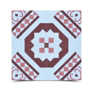 Bouman Pink and Brown Handmade Moroccan 8 x 8 inch Cement and Granite Floor or Wall Tile (Case of 12)