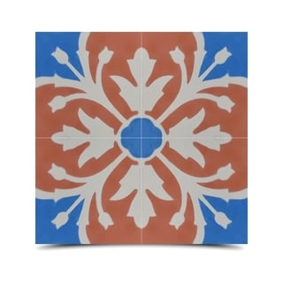 Pack of 12 Marjana Blue/ Orange Handmade Cement/ Granite Moroccan Tile 8-inch x 8-inch Floor/ Wall Tile (Morocco)