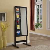 Artiva USA  63-Inches  Deluxe Double Doors Java Black Jewerly Armoire Chevor Mirror with Photo Frame