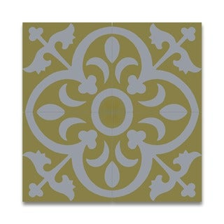 Nador White and Yellow Handmade Moroccan 8 x 8 inch Cement and Granite Floor or Wall Tile (Case of 12)