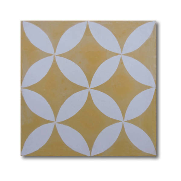 Amlo in Yellow and White Handmade 8x8-in Moroccan Tile (Pack 12)