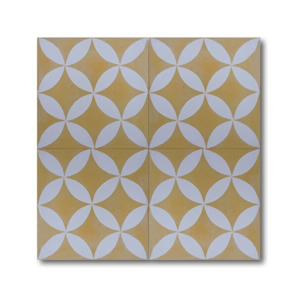 Pack of 12 amlo yellow white handmade cement granite for White cement tiles
