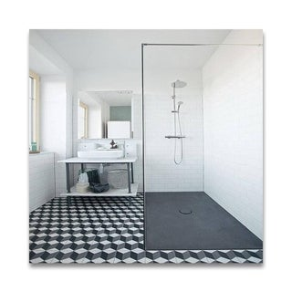 Bahja Grey/ Black, Cement/ Granite Moroccan Tile 8-inch x 8-inch Floor/ Wall Tile Pack of 12, Handmade in Morocco