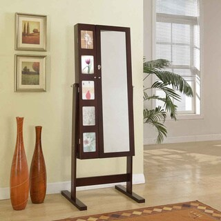 Artiva USA 63-Inches Deluxe Double Doors Expresso Jewerly Armoire Chevor Mirror with Photo Frame