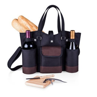 Picnic Time Black with Merlot Trim Wine Country Tote