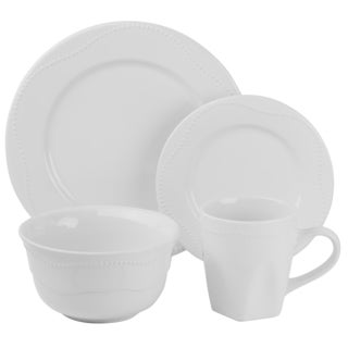 Vivo White Beaded Dinnerware 16-piece Set