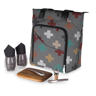 Picnic Time Pixels Collection Sonoma Wine and Cheese Tote