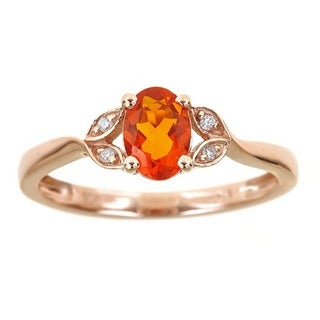 Anika and August 10k Rose Gold Oval-cut Fire Opal Diamond Accent Ring
