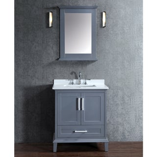 Nantucket 30-inch Whale Grey Free-standing Single-Sink Bathroom Vanity and Mirror Set