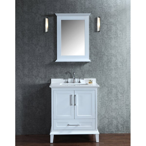 Nantucket 30 Inch White Free Standing Single Sink Bathroom Vanity And Mirror Set Free Shipping
