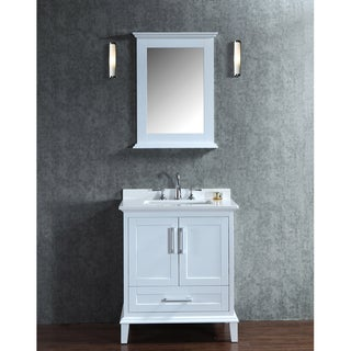 nantucket 30inch white singlesink bathroom vanity and mirror set
