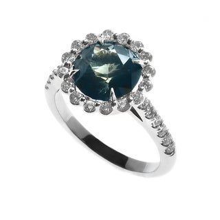 14k White Gold Madagascar Sapphire 1/2ct TDW Diamond Halo Ring (G, VS1-VS2) (Size 7)
