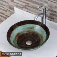 Elite 1511+882002 Space Tunnel Pattern Tempered Glass Bathroom Vessel Sink With Faucet Combo