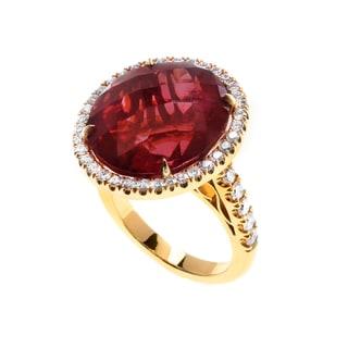 18k Yellow Gold Red Rubelite 1 1/10ct TDW Diamond Halo Ring (G, VS1-VS2) (Size 7)