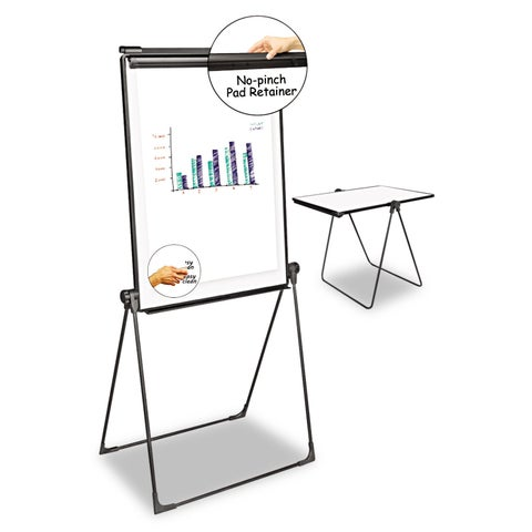 Universal One White/Black Foldable Double Sided Dry Erase Easel