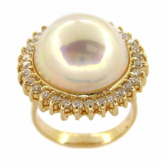 Kabella 14k Yellow Gold Mabe Pearl 3/4ct TDW Diamond Vintage Ring (G-H, SI1-SI2)(16 mm)