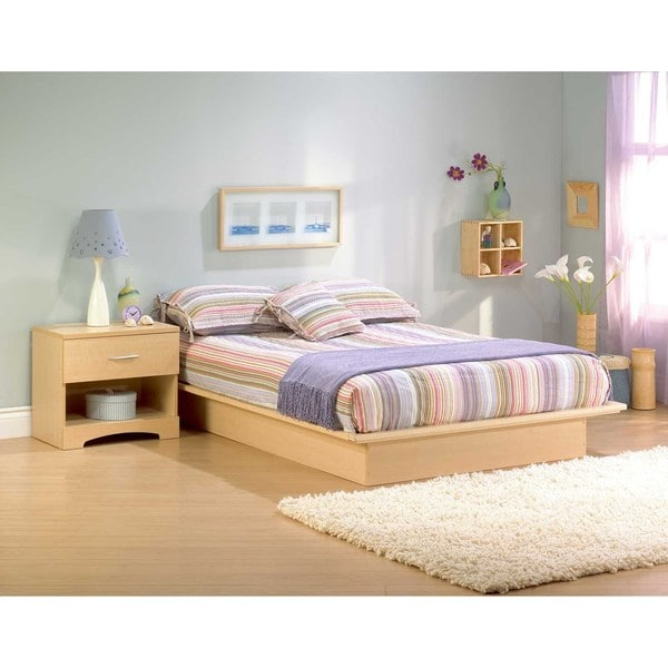 south shore step one full platform bed 54 natural maple