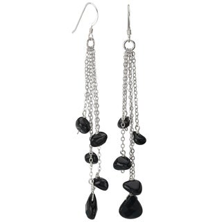 Avanti Sterling Silver Black Onyx Long Dangle Earrings