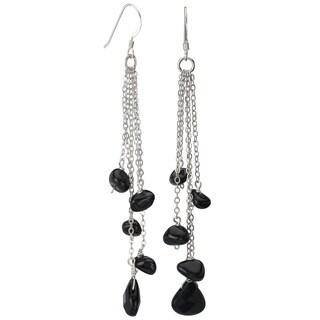 Avanti Sterling Silver Black Onyx Long Dangle Earrings