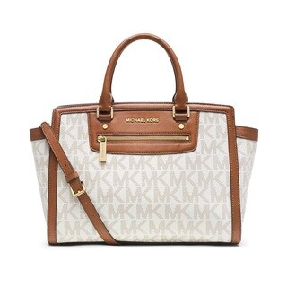 Michael Kors Selma Large Vanilla Logo Top Zip Satchel Handbag