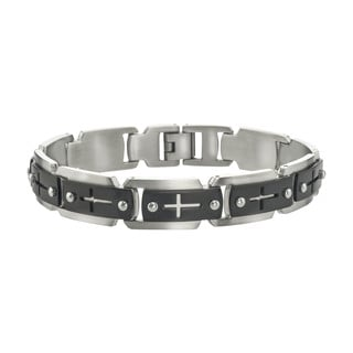 Stainless Steel Men's Black IP Cross Cutout Link Bracelet By Ever One