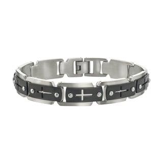 Stainless Steel Men's Black IP Cross Cutout Link Bracelet By Ever One