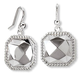 Avanti Sterling Silver Faceted Center Rope Accent Halo Earrings